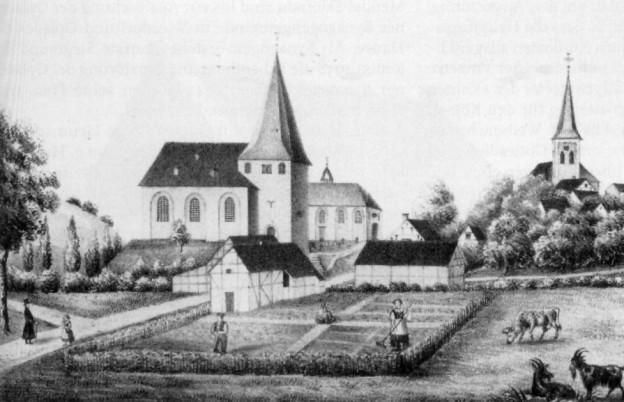Maurinus Kirche Lützenkirchen um 1845